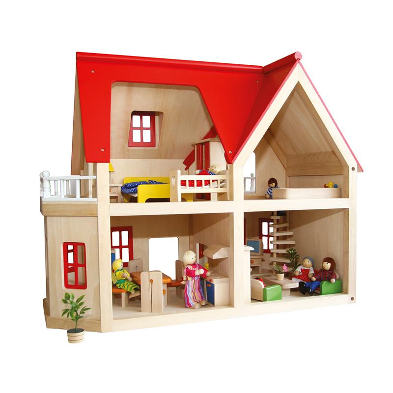 Poppenhuizen en accessoires dudutoys poppenhuis villa for Poppenhuis bouwen